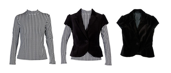 "A collage of patterned blouses with ""crows feet"" and a black ves"
