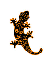 Fire salamander with pattern on the back. Cartoon. Vector
