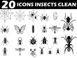 20 icons insects clean