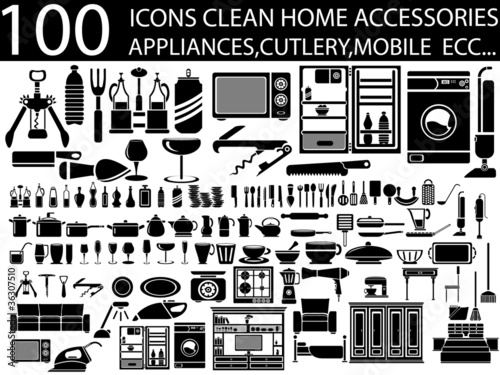 100 ICONS CLEAN HOME ACCESSORIES APPLIANCES,CUTLERY,MOBILE ECC