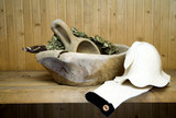 Wooden bowl for bathhouse poster