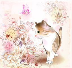 retro birthday greeting  card with little tabby kitten ,flowers