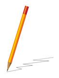 Realistic orange pencil with zigzag line poster