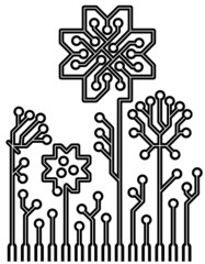 vector circuit board flowers for your design