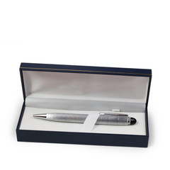 ballpoint silver pen in a gift box