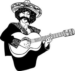 a sketch Mexican men singing and playing guitar