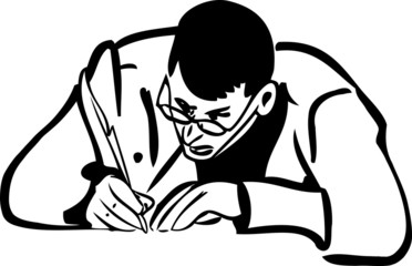 a sketch of a man with glasses writing quill pen