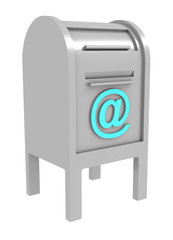 gray mail box with blue e-mail sign