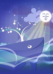 Balena luna mare illustrazione libro