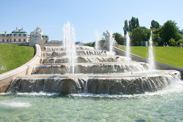 Fountain near Belvedere Castle in Vienna