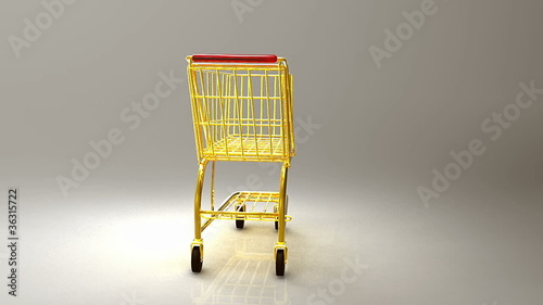 Rotating gold shopping cart