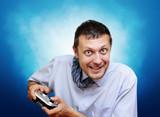 Emotional office clerk gamer with joystick poster