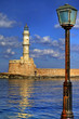 Greece, Crete, Chania town , view with lighthouse