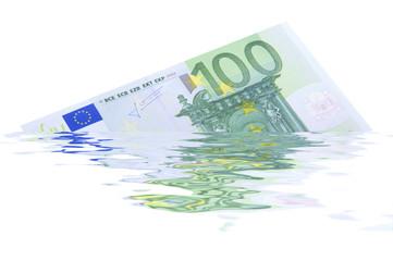 100 Euroschein zerflossen