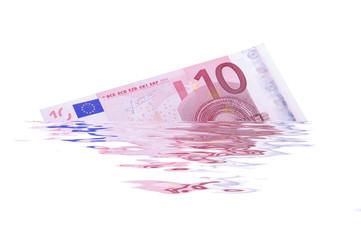 10 Euroschein zerflossen