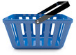 Plastic blue shopping basket