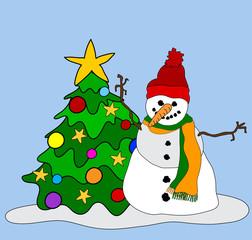 Schneemann mit Weihnachtsbaum