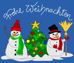 Grußkarte Schneemann Weihnachtsbaum