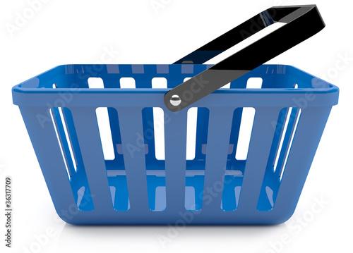 Plastic blue shopping basket