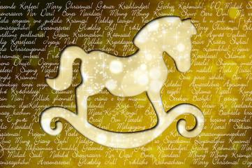 Schaukelpferd wünscht in allen Sprachen frohe Weihnachten