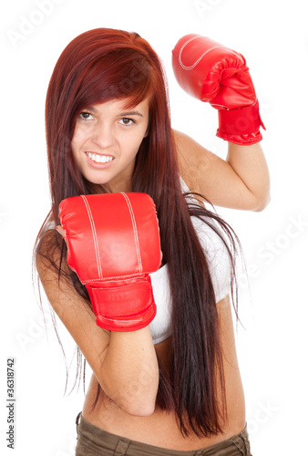 pretty girl with red boxing gloves, white background