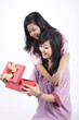 Happy Mother and Daughter with Christmas Gift