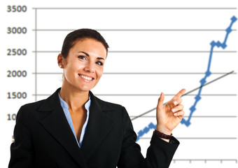 Businesswoman pointing a rising arrow in a graph
