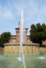 Sforza castle, Filarete tower and fountain, Milan, Italy
