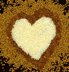 heart from buckwheat and rice