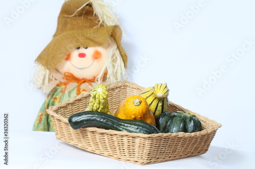 Ornamental Gourd/Squash in Basket
