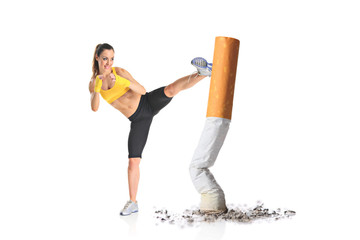 Girl kicking a cigarette butt