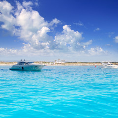Anchored motorboats in Formentera Illetes