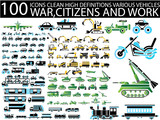 100 ICON VARIOUS VEHICLES CLEAN WAR,CITIZENS AND WORK