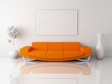Pomarańczowy sofa