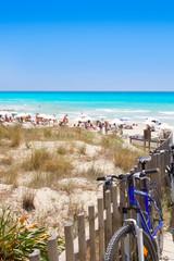Formentera migjorn Els Arenals beach in summer