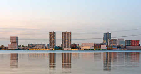 Modern architecture at sunset, Almere, Holland