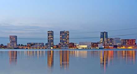 Apartment buildings after sunset, Almere, Holland