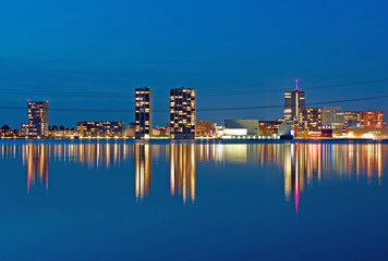 Highrise after sunset, Almere, Holland