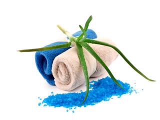 Soft towels, bath salt and aloe - spa concept