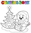 Coloring book Christmas teddy bear