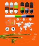 elements of infographics with bamboo shoots poster