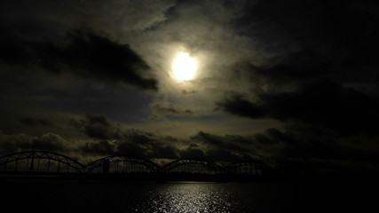 HD - Night cityscape. Railroad bridge