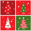 Winter Christmas Trees retro blocks collection - red & green..