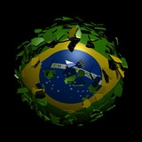 Brazil flag sphere breaking apart illustration