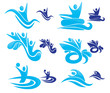 vector collection of aqua park symbols