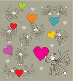 set vector elves with hearts poster