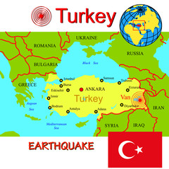 Turkey map with epicenter earthquake.