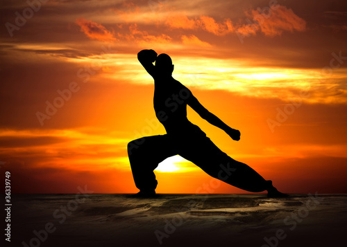 Martial Arts Fitness at Sunset - 36339749