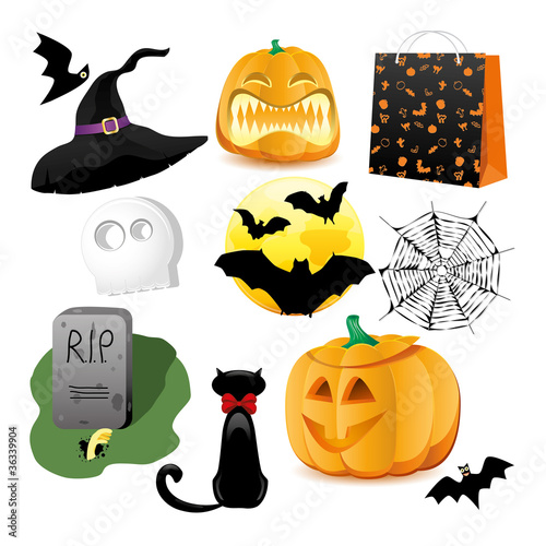 Halloween Icons. Vector illustration..