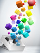Colorful Flying Cubes Background